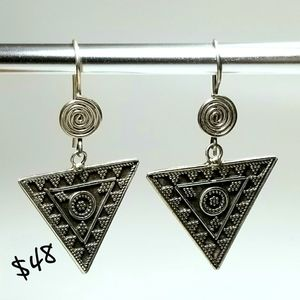 925 Sterling Silver Triangle Tribal Earrings